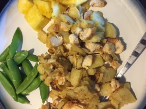 White sweet potatoes roasted in EVOO, chicken, snap peas, pineapple
