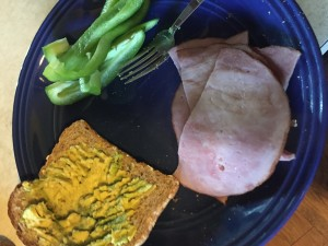 Ham, sliced bell pepper, toast smeared with avocado and sea salt